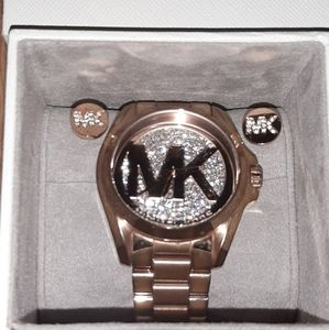 Michael Kors RoseGold BLING Watch and earrings